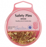 Hemline Safety Pins - 23mm long - Brass - 50 pack